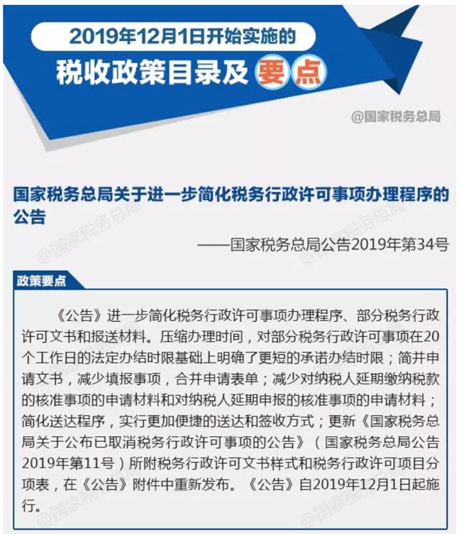 2019年12月1日开始实施的税收政策